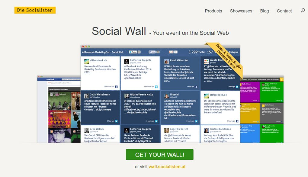 """The old Walls.io landing page from 2013 when it wasn't yet called Walls.io but just """"Social Wall"""". The product is shown embedded on a Facebook page and as a standalone wall. The heading says """"Social Wall — Your event on the Social Web""""."""