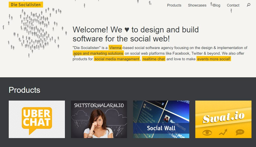 """A screenshot of an old version of the website die.socialisten.at. The heading says """"Welcome! We ♥ to design and build software for the social web!"""" The footer advertises four different products, among them one called simply """"Social Wall""""."""