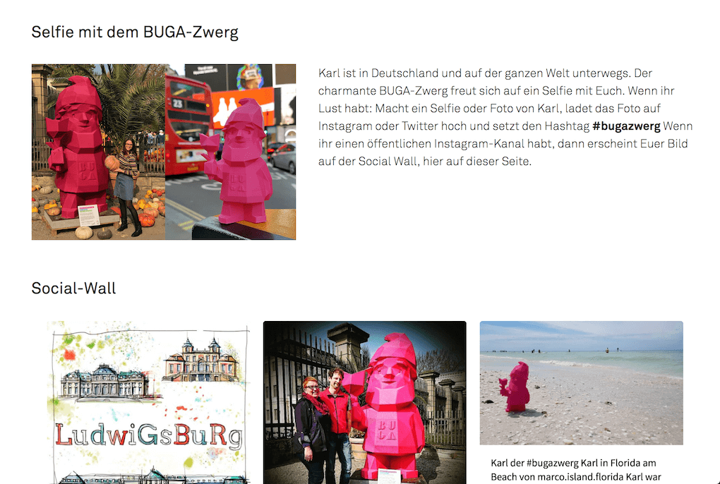 Screenshot of the page on the mascot hashtag campaign BUGA website that introduces Karl and the #bugazwerg hashtag.