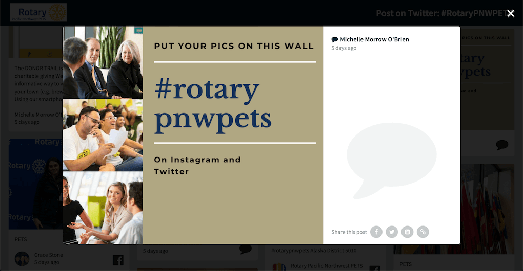 """Screenshot of a post by Michelle Morrow O'Brien on the PETS 2020 social wall. The post reads: """"Put your pics on this wall #rotarypnwpets On Instagram and Twitter"""""""