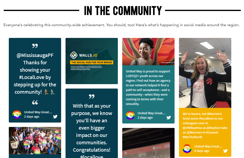 """Screenshot of the #LocalLove social media wall as it is embedded on the UWGT website. The heading of the website section is """"IN THE COMMUNITY"""", followed by """"Everyone's celebrating this community-wide achievement. You should, too! Here's what's happening in social media around the region."""" Underneath, the social wall is embedded and shows various social media posts using the hashtag #LocalLove."""