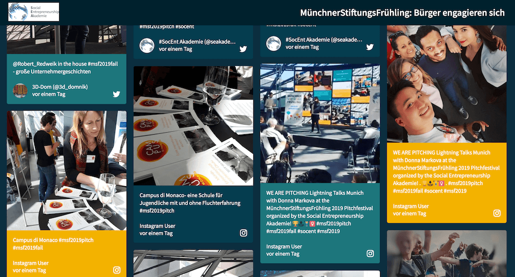 Screenshot of the Social Entrepreneurship Akademie social wall, showing selfies by the audience, pics of the stage and marketing materials spread out on tables.