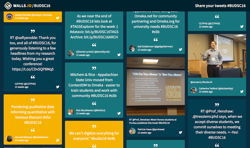 Screenshot of the Bucknell University social wall showing posts shared during the #BUDSC16 conference.