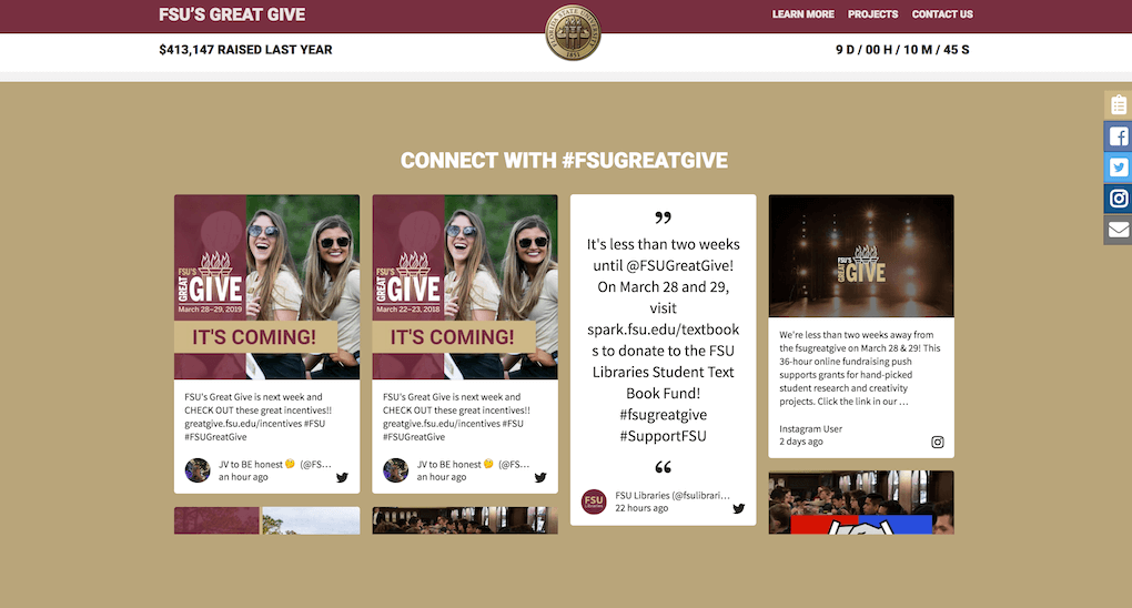 "Another screenshot of the FSU's Great Give microsite. The heading reads ""Connect with #FSUGreatGive"" and the social wall is embedded underneath it."