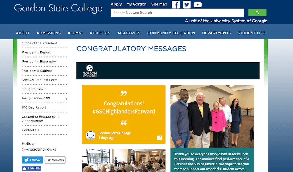 "A screenshot of the Gordon State College website. It shows the social wall embedded under the heading ""Congratulatory messages"". The posts on the wall are congratulatory messages or show the new president of the university in photos with others."
