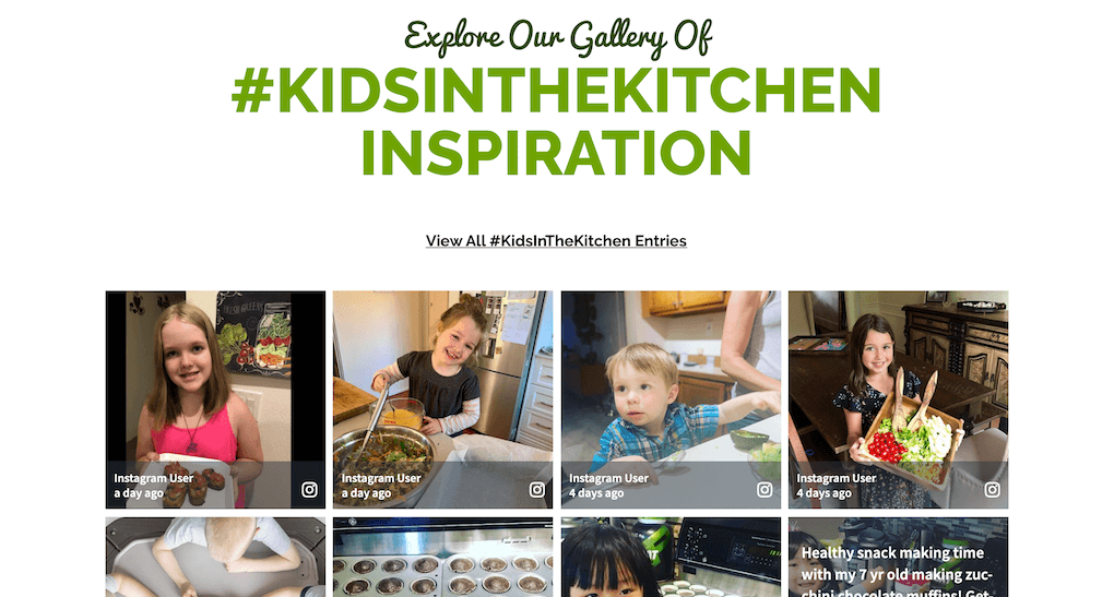"""Screenshot of the landing page for the Kids In The Kitchen campaign on the NatureFresh™ Farms website. The heading says """"Explore Our Gallery Of #KidsInTheKitchen Inspiration"""" above the embedded social wall. KidsInTheKitchen social  media case study."""