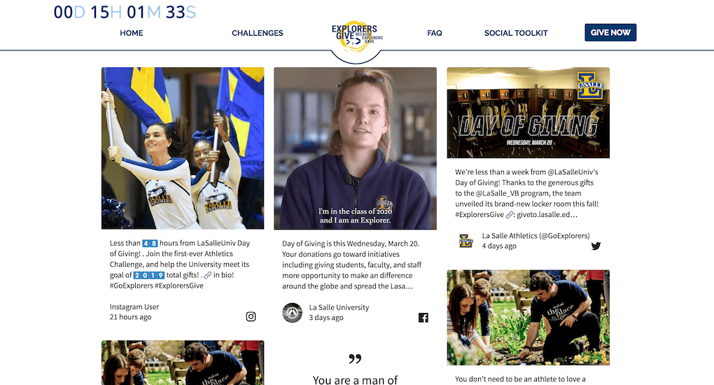 Screenshot of the La Salle University microsite for the ExplorersGive event. The microsite includes an embed of the social media wall, a countdown at the top left, and menu links to Challenges, FAQ, Social Toolkit, as well as a Give Now button. The social wall itself shows posts from students and the university's accounts as well.