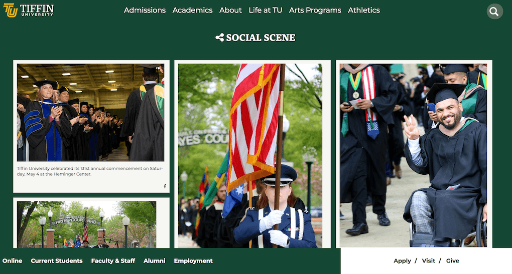 """Screenshot of the Tiffin University social wall embedded on the website under the heading """"Social Scene""""."""