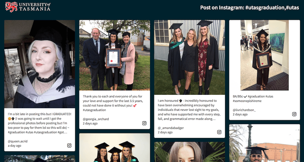 Screenshot of the University of Tasmania social wall. Displayed are various posts by happy people posing for photos in their graduation attire.