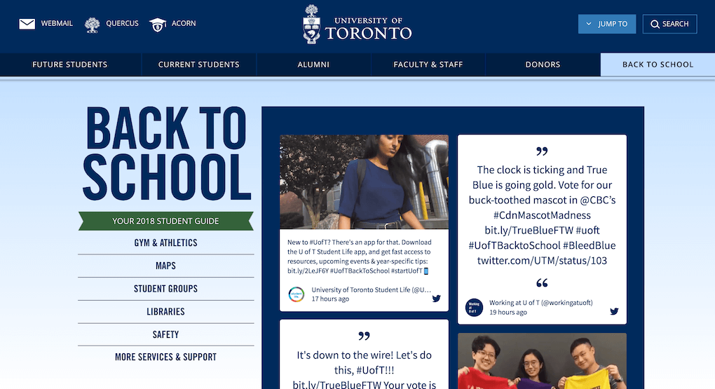 Screenshot of the Back to School section of the University of Toronto website. The left column shows the navigation for various topics important to new students. The social wall is embedded in the right column.