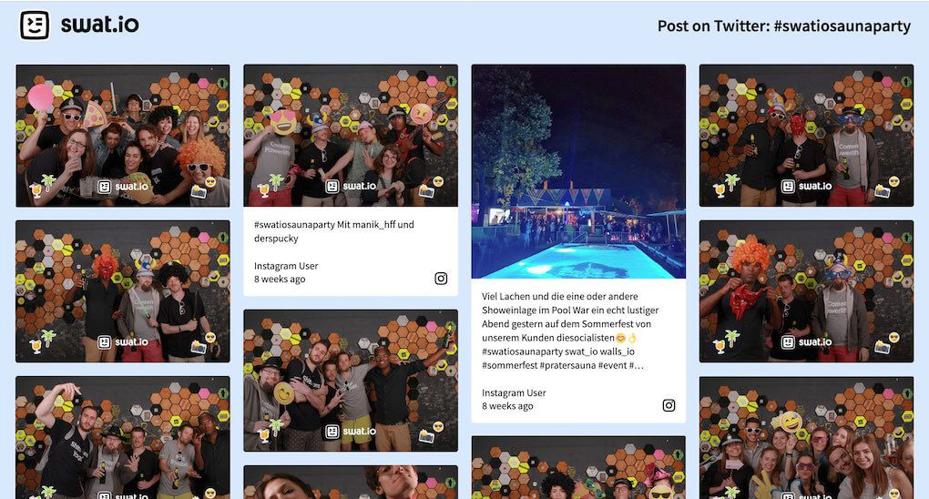 "Screenshot of the Swat.io Summer Party social wall. Upper left corner shows the Swat.io logo. Upper right corner says ""Post on Twitter: #SwatioSaunaParty"". The wall shows pictures from the photo booth as well as a picture of the pool which had been posted to Instagram."