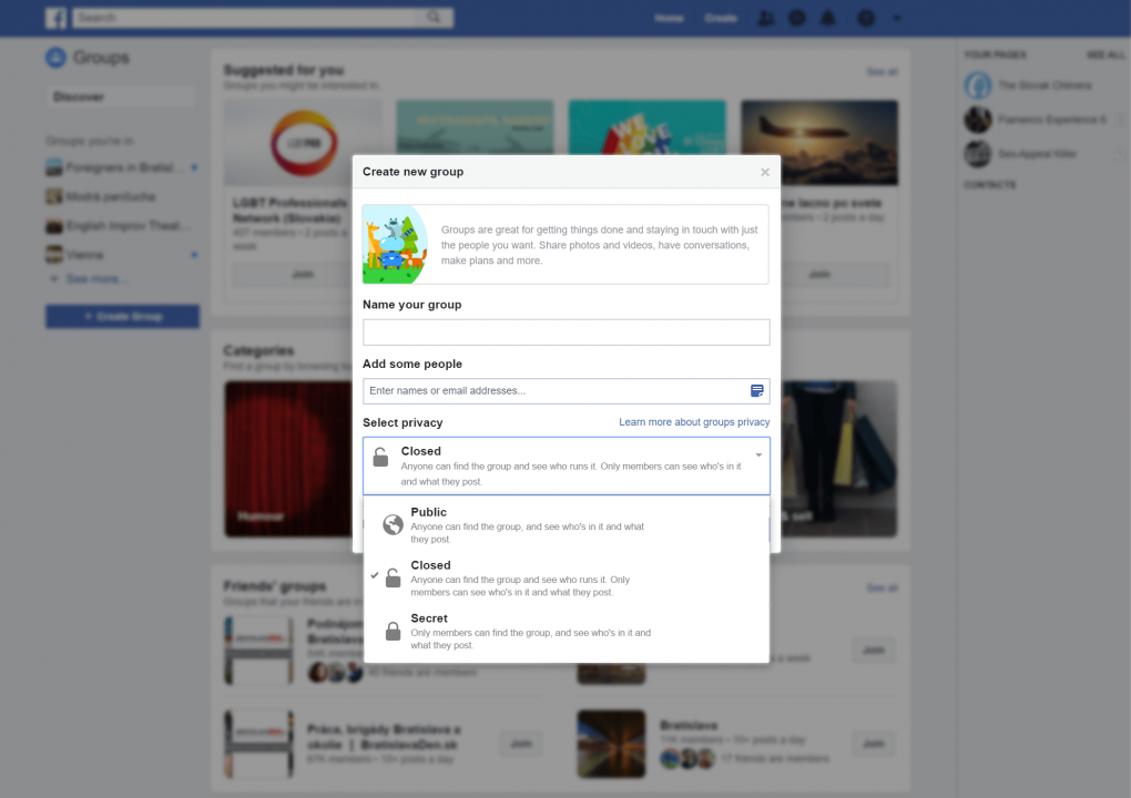 Screenshot of the setup process for a new Facebook group, showing options for naming the group and adding people as well as selecting privacy settings. Users can choose between Closed, Public, Closed and Secret when setting up a group.