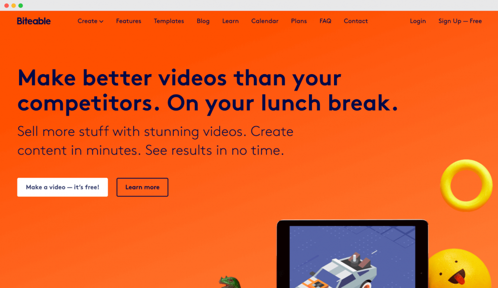 "Screenshot of the Biteable homepage. The tagline text reads ""Make better videos than your competitors. On your lunch break""."