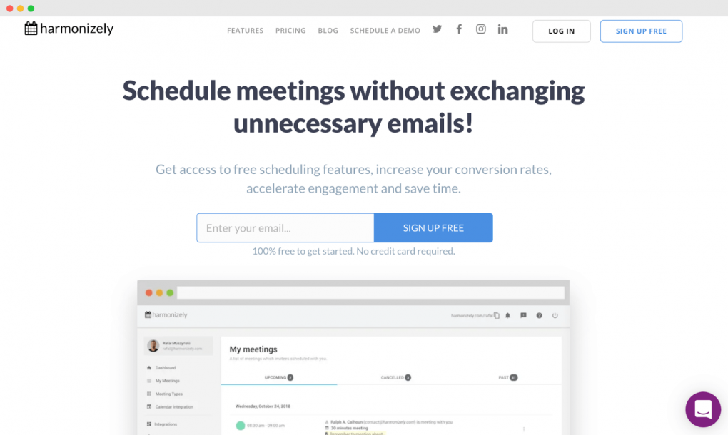 "Screenshot of the Harmonizely homepage. The tagline text reads ""Schedule meetings without exchanging unnecessary emails!"""