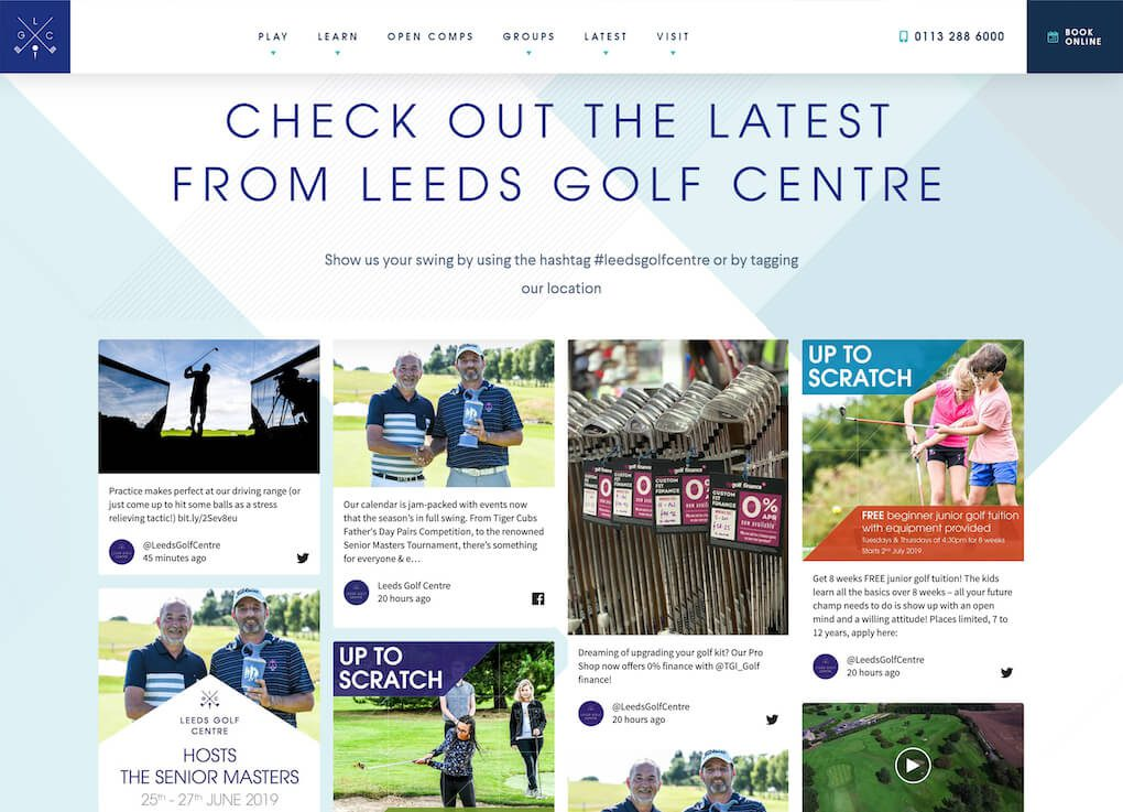 "Screenshot of the Leeds Golf Centre website. The page heading says ""Check out the latest from Leeds Golf Centre"", followed by ""Show us your swing by using the hashtag #LeedsGolfCentre or by tagging our location""  Underneath, the social wall is embedded and shows social media posts by Leeds Golf Centre, advertising events, classes and other golf-related information."
