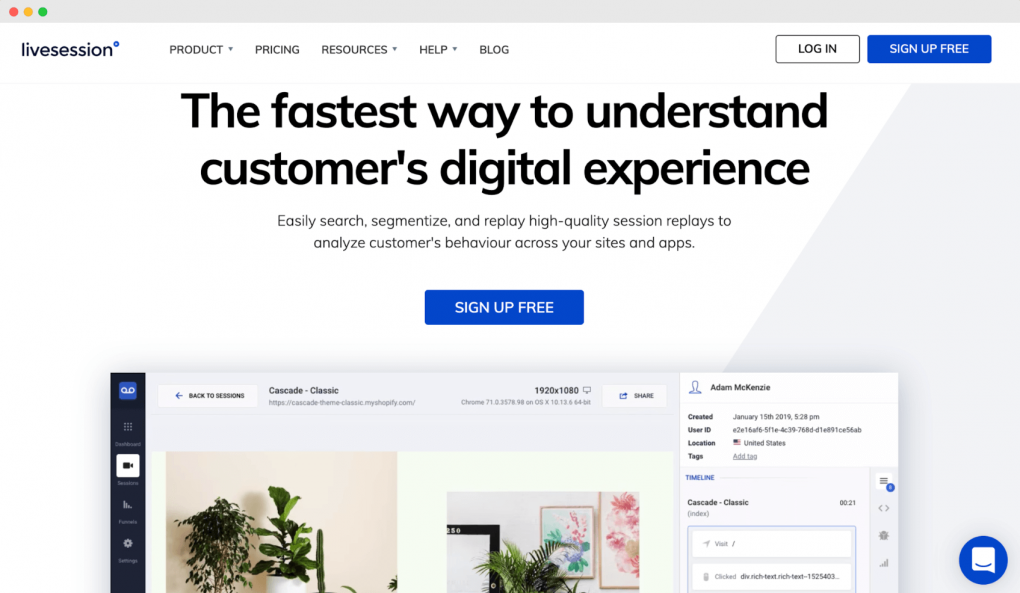 "Screenshot of the LiveSession homepage. The tagline text reads ""The fastest way to understand customer's digital experience""."