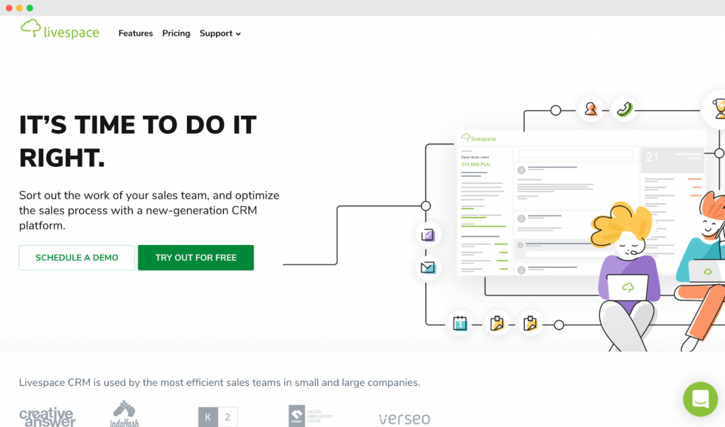"Screenshot of the Livespace homepage. The tagline text reads ""It's time to do it right""."