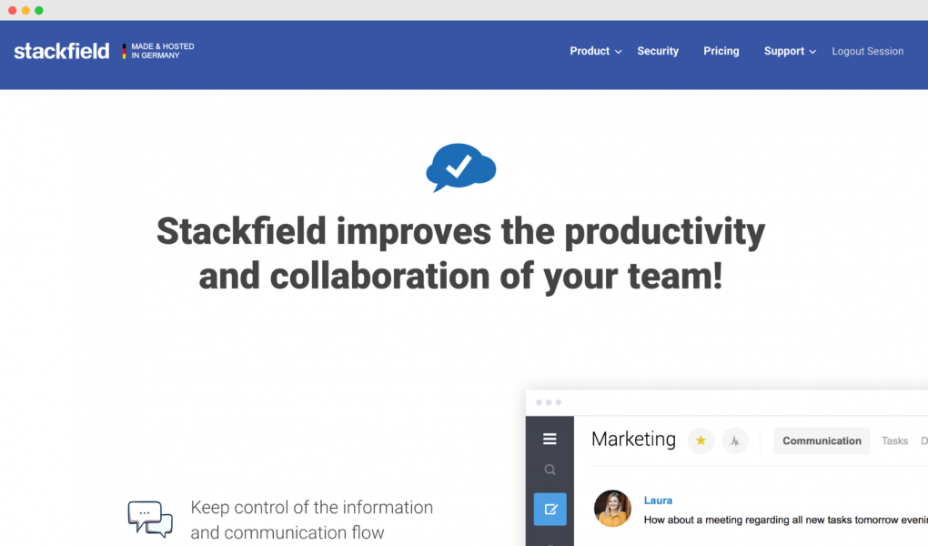 "Screenshot of the Stackfield homepage. The tagline text reads ""Stackfield improves the productivity and collaboration of your team!"""