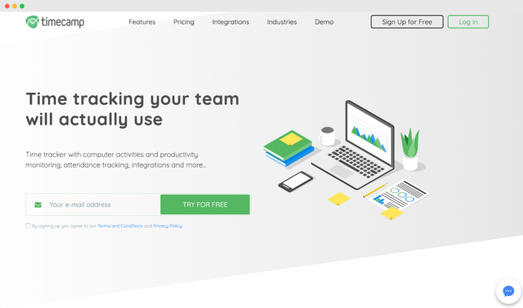 "Screenshot of the TimeCamp homepage. The tagline text reads ""Time tracking your team will actually use""."