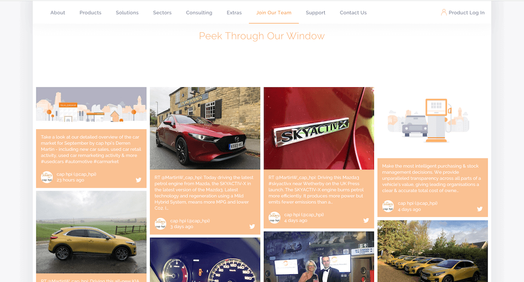 "Screenshot of the cap hpi careers hub with the social wall embedded under the heading ""Peek Through Our Window"". We see various differently-themed social media posts by cap hpi. Some of them show cars, others illustrations or photos from an event."