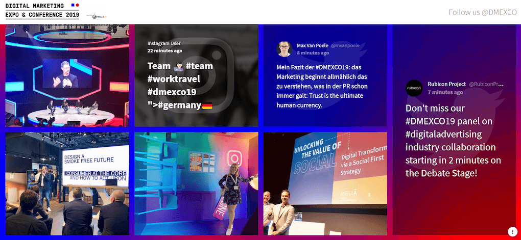 Screenshot of the DMEXCO social media wall using the Bricks theme. Seven posts are shown, among them photos from the event, thoughts about relevant topics and the announcement of a panel on digital advertising.