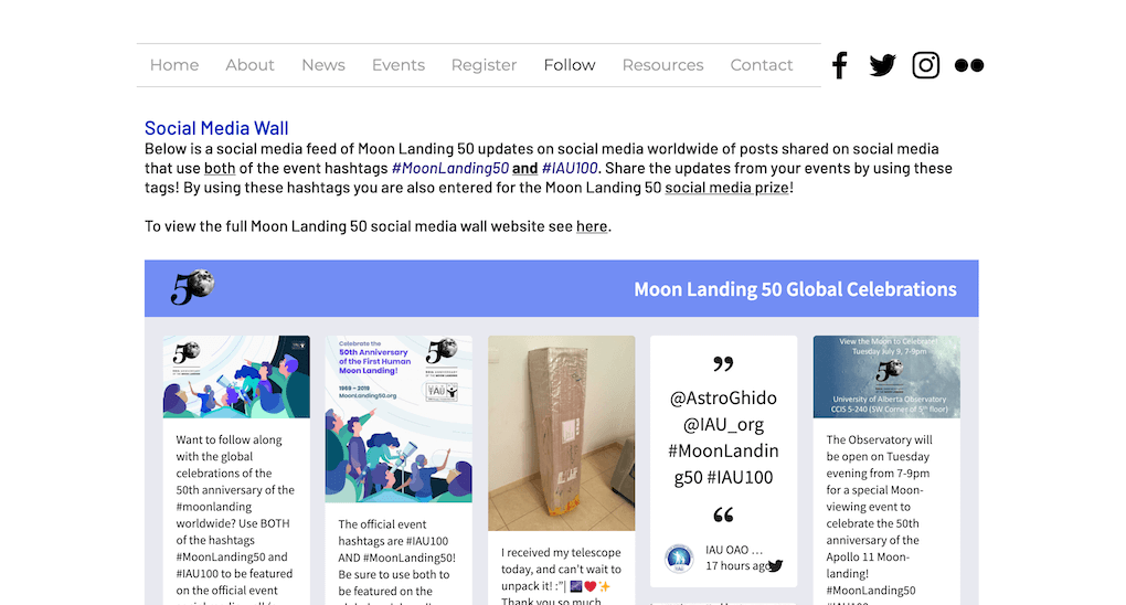 "Screenshot of the Moon Landing 50 website. The social wall is embedded in the ""Follow"" section of the site. A bit of copy above the embed explains how to post to the wall, using both the #MoonLanding50 and the #IAU100 hashtags."