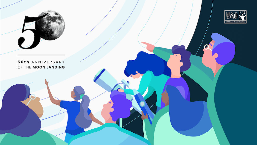 Social media banner for the 50th anniversary of the moon landing. The illustration shows a bunch of people looking and pointing at the moon, with one person using a telescope. The moon they're looking at also makes up the zero in the number 50 in the event logo.