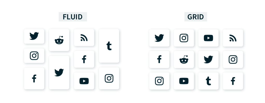 Side-by-side comparison of the Walls.io Fluid and Grid themes, shown in a stylised form with tiles representing different social networks. Grid theme: all tiles are the same size and are aligned on a grid.