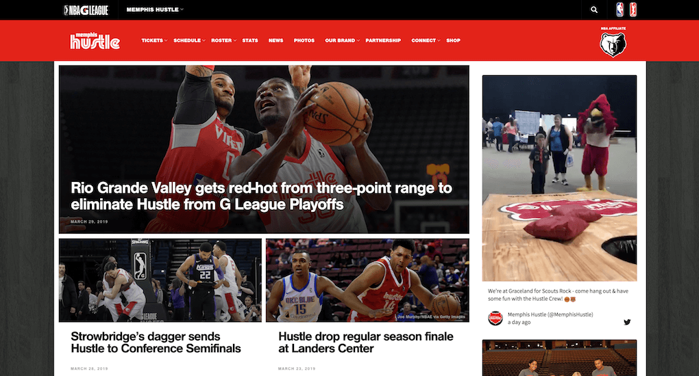 Screenshot of the MemphisHustle.com website. The left two thirds of the page are covered with news articles, the right hand third is taken up by the social media wall in a sidebar. The width allows for posts to show underneath each other in a scrollable column.