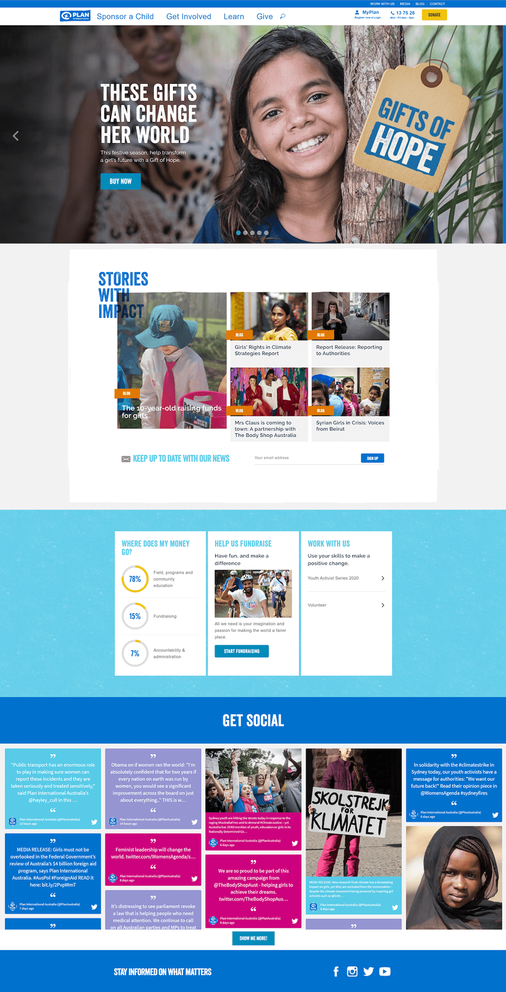 Screenshot of the Plan-International website, showing how the social media feed is integrated into the home page by adapting the colours to fit the organisation's colour scheme.