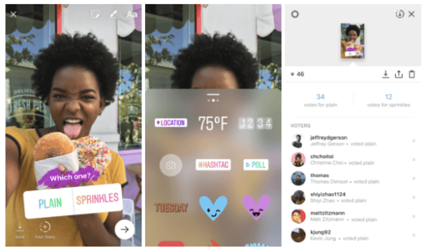 Screenshots demonstrating how to create a poll using Instagram Stories.
