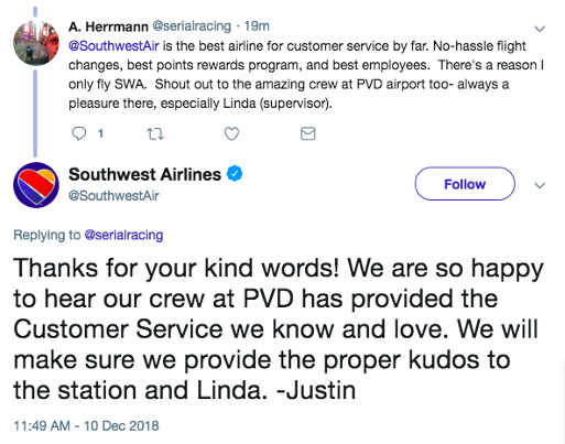 "Exchange on Twitter between a user and the Southwest Airlines Twitter account:  @serialracing: ""@SouthwestAir is the best airline for customer service by far. No-hassle flight changes, best points rewards program, and best employees. There's a reason I only fly SWA. Shout out to the amazing crew at PVD airport too- always a pleasure there, especially Linda (supervisor).""  @SouthWestAir: ""Thanks for your kind words! We are so happy to hear our crew at PVD has provided the Customer Service we know and love. We will make sure we provide the proper kudos to the station and Linda. -Justin"""