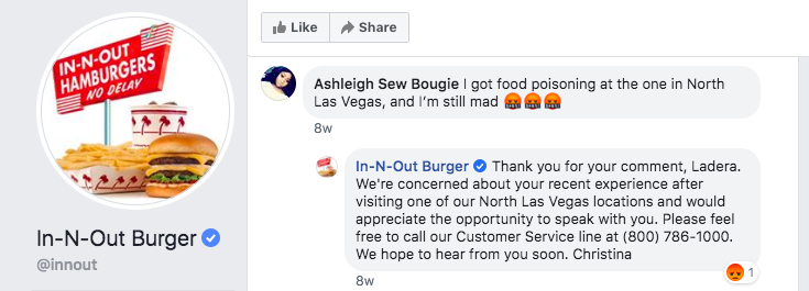 A user on the In-N-Out Burger Facebook page is complaining that they got food poisoning at the North Las Vegas branch. In-N-Out Burger is asking them to call the customer service line so they can get more information.