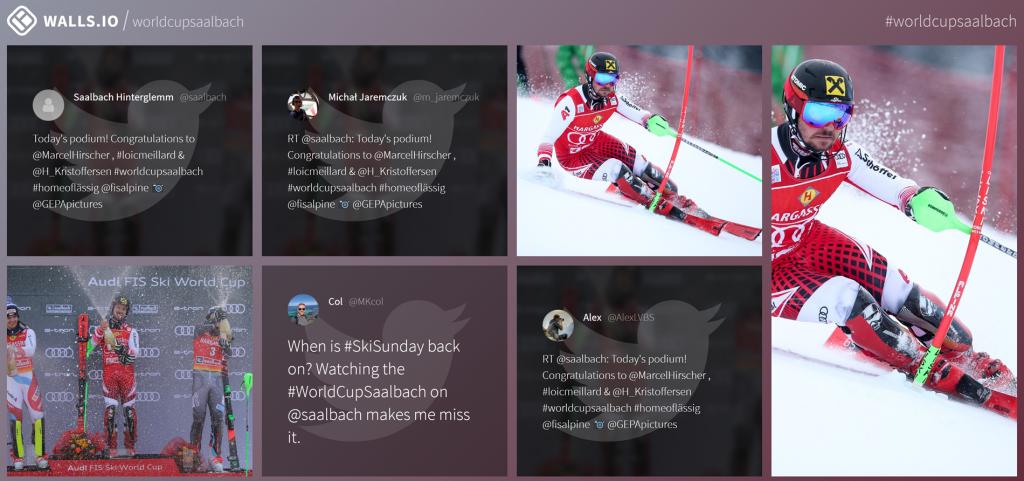 social media wall ski worldcup saalbach