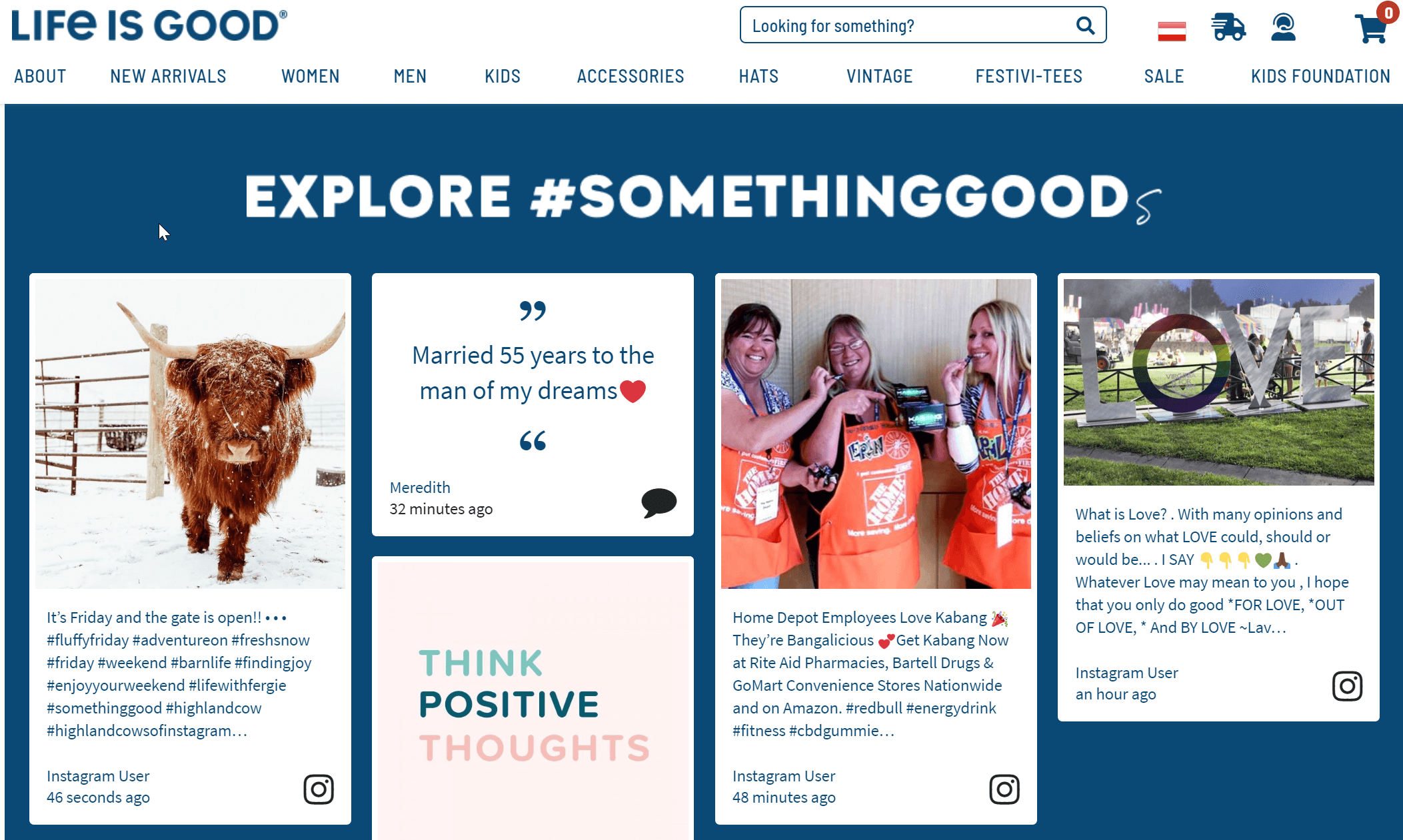social media feed for website examples life is goog #somethinggood hashtag fundraising campaign