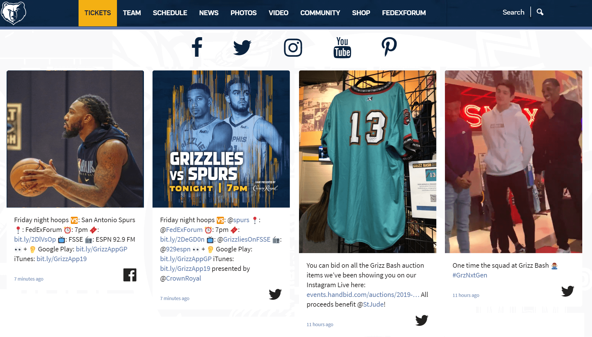 social media feed on website examples memphis grizzlies
