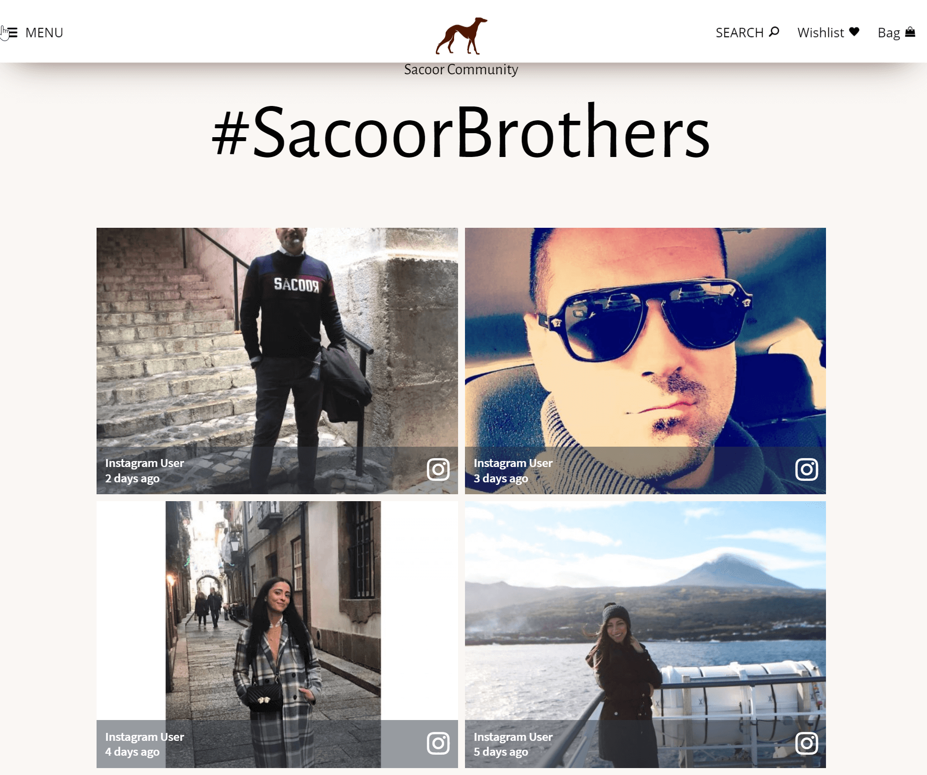 social media wall examples fashion sacoor brothers website