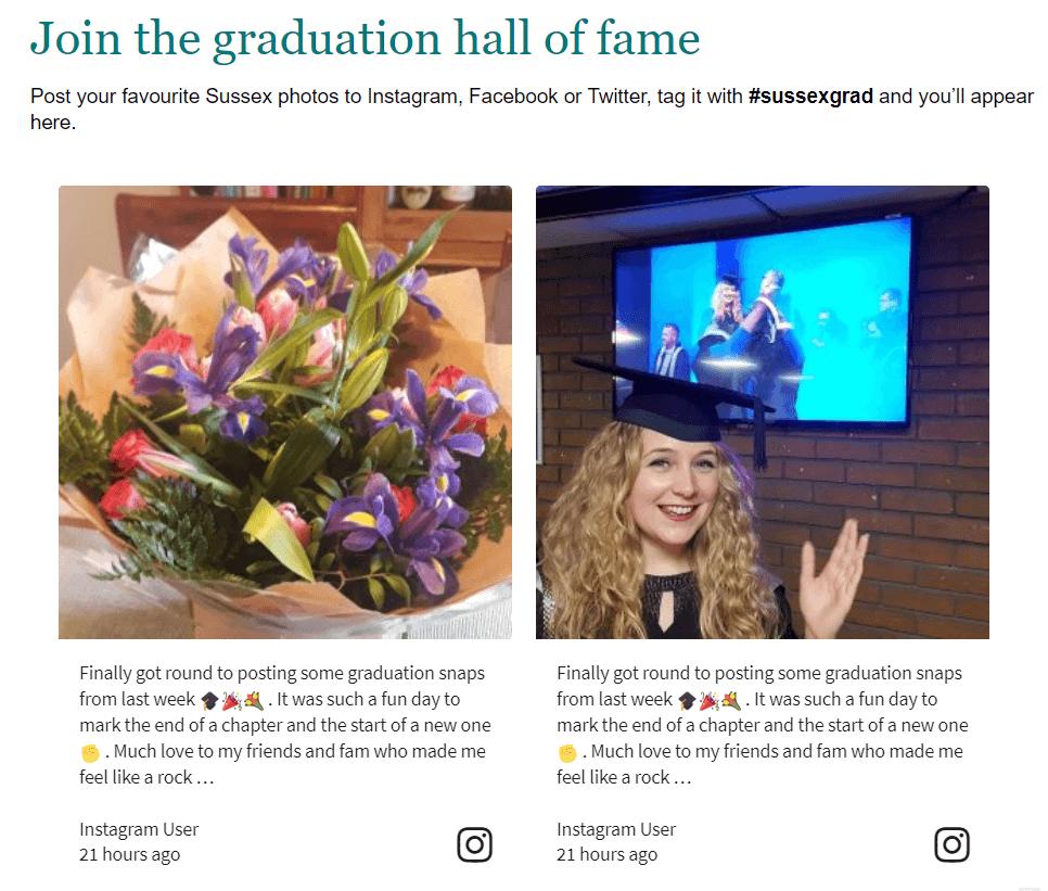 social media feed on website examples university graduation social media wall
