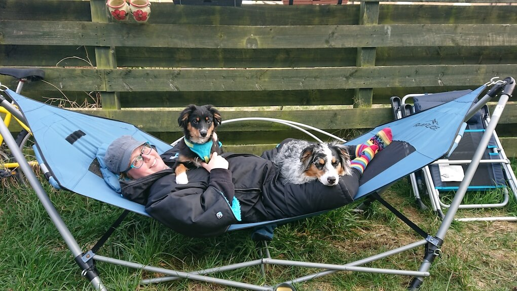 A person, wearing a thick warm coat and a wooly hat is lying in a blue hammock in a garden. A fluffy adult Australian Shepherd dog is relaxing on her legs, an Australian Shepherd puppy is sitting on her chest. All three are looking at the camera.