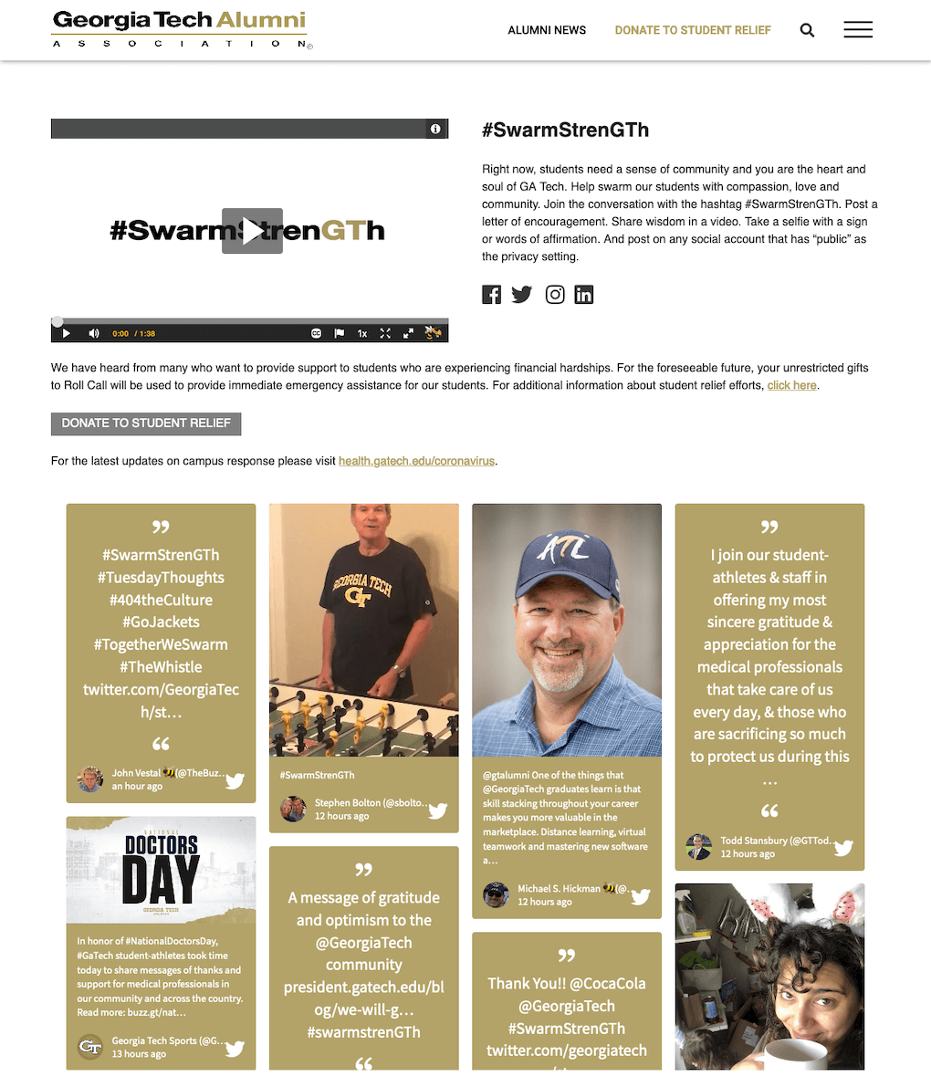 Screenshot of the Georgia Tech Alumni Association website, featuring the hashtag, a short explanation of the campaign, the motivational video made by alumni and the embedded social wall. The social wall is adapted to perfectly fit the gold-and-black branding of Georgia Tech.