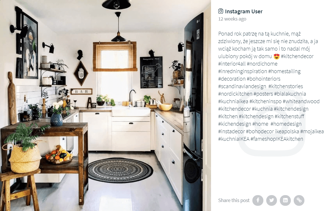 An Instagram post by an IKEA customer tagged with the #kuchniaIKEA hashtag (among many others) and showing off their cosy IKEA kitchen.