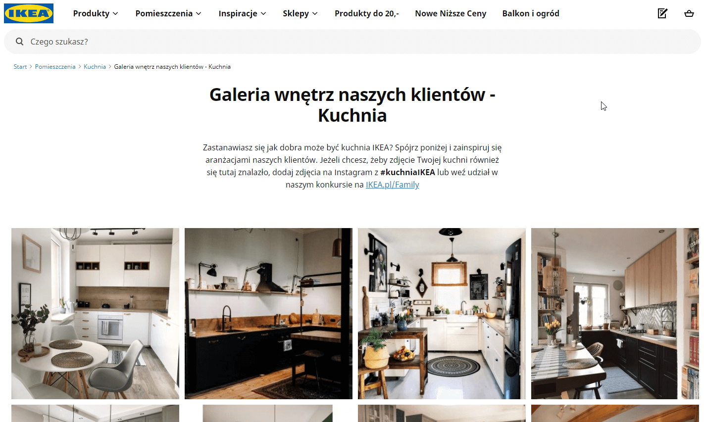 Screenshot of the IKEA Poland website with a social wall photo gallery embedded in the kitchen section. Above the gallery, there's a paragraph in Polish explaining how to post to the gallery.