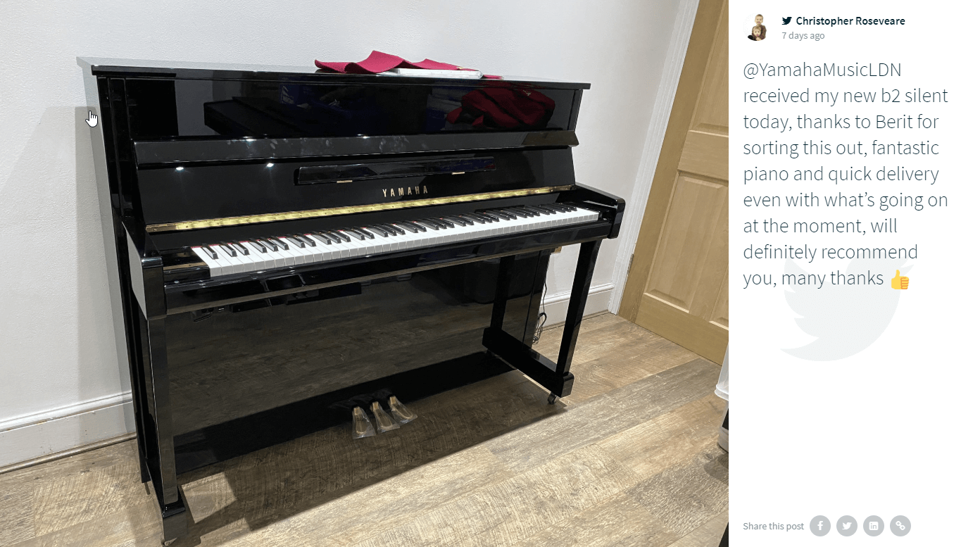 "A Twitter post from the Yamaha Music London social wall website embed showing a black upright piano standing against a wall. In the caption, user @chris_roseveare says: ""@YamahaMusicLDN received my new b2 silent today, thanks to Berit for sorting this out, fantastic piano and quick delivery even with what's going on at the moment, will definitely recommend you, many thanks 👍"""
