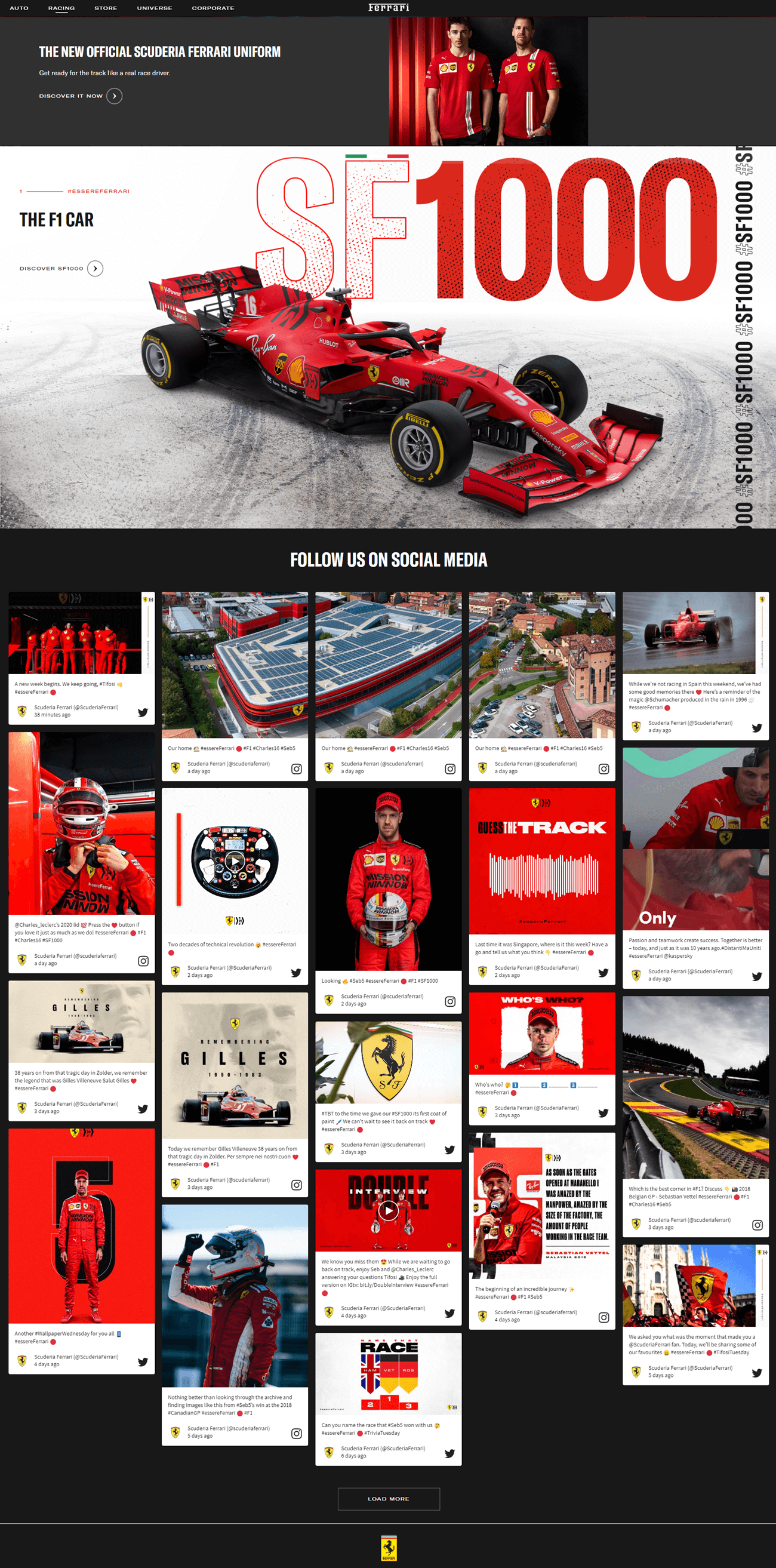 Screenshot of the live social feed as it is embedded on the Formula 1 landing page of the Ferrari website.