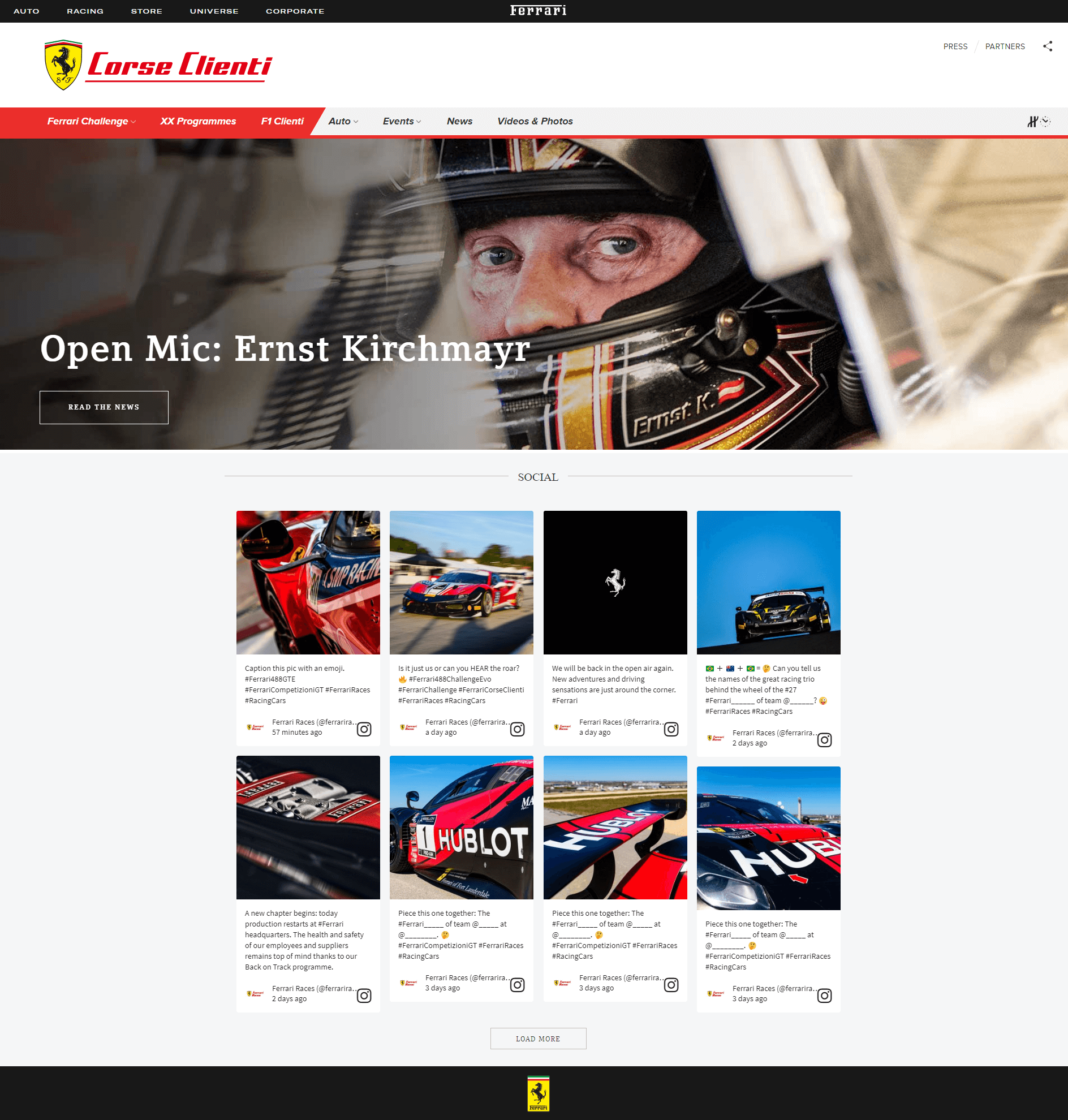 Screenshot of the Corse Clienti (Ferrari's customer racing division) page of the Ferrari website with the live social media feed embedded.