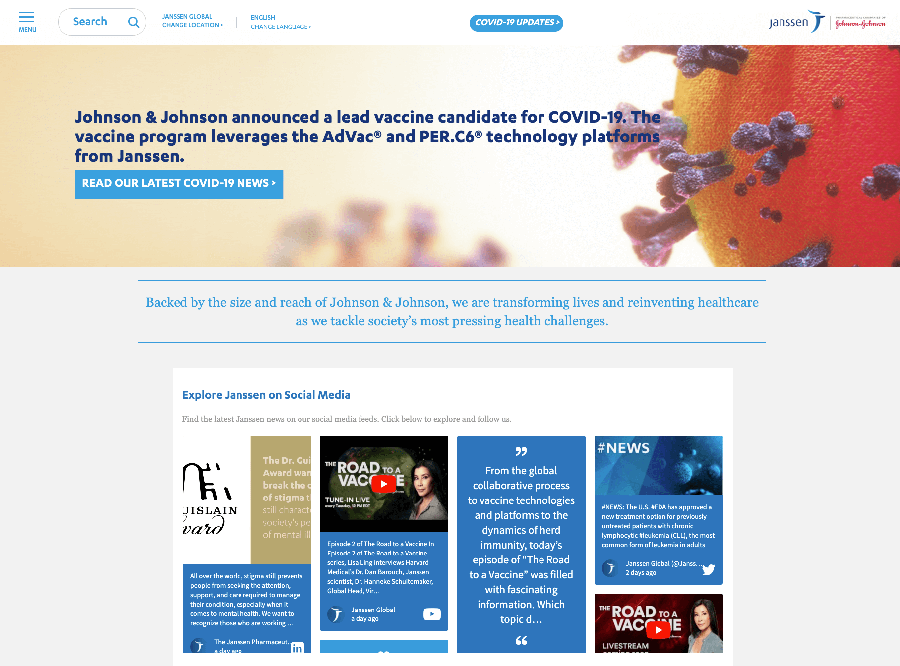 """Screenshot of the Janssen website with the latest news about a potential COVID-19 vaccine at the top of the page, and the social wall embedded right underneath that. The social wall carries the heading """"Explore Janssen on Social Media"""" and shows various tweets and Facebook posts by Janssen."""