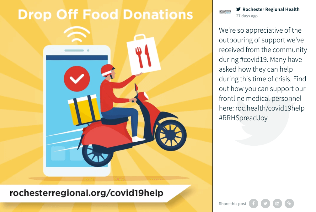 "Twitter post by @ROCRegional as shown on the social wall. The image says ""Drop Off Food Donations"" and, on a yellow background, shows an illustration of a person on a scooter delivering food orders. In the background is a stylised depiction of a smartphone. The link rochesterregional.org/covid19help is also displayed.  The caption reads: ""We're so appreciative of the outpouring of support we've received from the community during #covid19. Many have asked how they can help during this time of crisis. Find out how you can support our frontline medical personnel here: https://roc.health/covid19help #RRHSpreadJoy"""