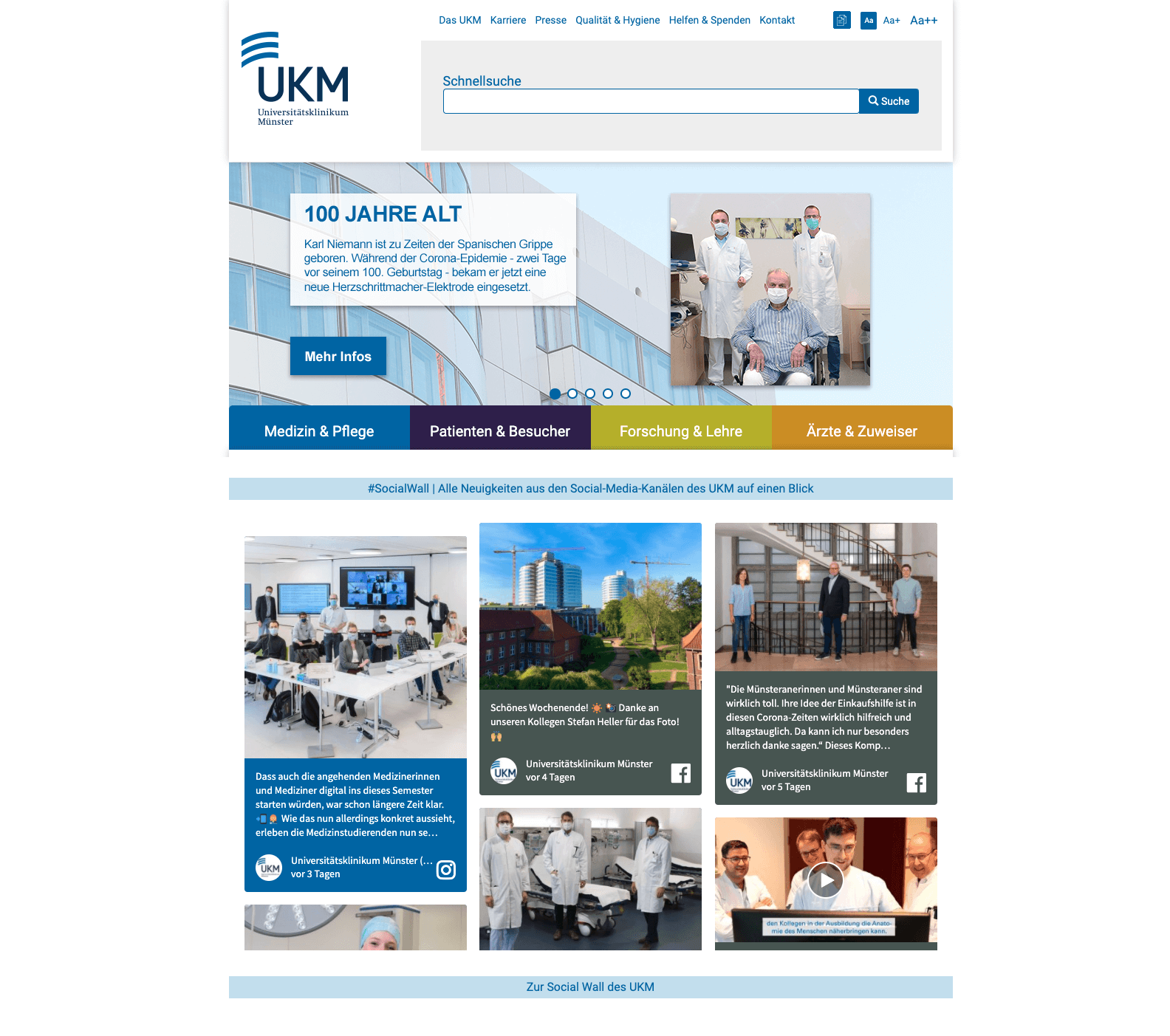 Screenshot of the Münster University Hospital website, which has the social media hub embedded on the homepage. The social wall shows various posts made by Münster University Hospital on Facebook and Instagram.