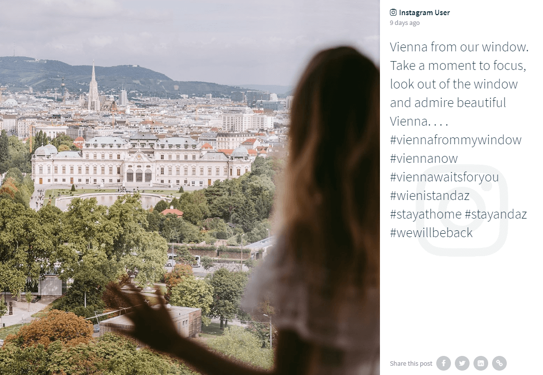 Post by an Instagram user for the #ViennaFromMyWindow challenge. The photo shows a beautiful view of Vienna taken over the shoulder of a person with long-hair. The person in the foreground is blurry and shadowy, while the buildings and greenery in the background are sharp and bright.