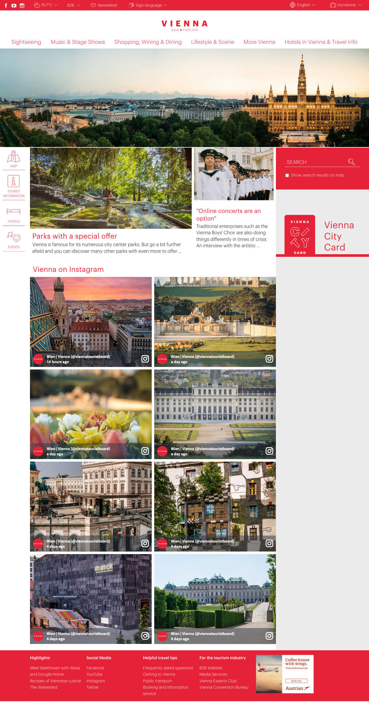 Screenshot of the wien.info website with the social wall prominently embedded and showing beautiful images of Vienna posted on Instagram.
